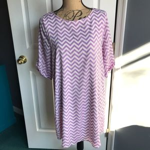 Anthropologie Everly Lavender Chevron Shift Dress